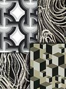 Black Retro Modern Fabric