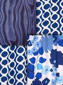 Blue Retro Modern Fabric