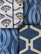 Blue Embroidered Fabrics