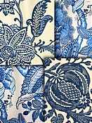 Blue Jacobean Fabrics