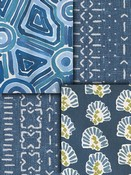 Blue, lapis and chambrey Robert Allen fabrics