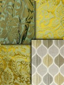 Citron Green Damask Fabrics
