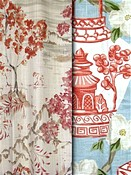 Coral Toile & Chinoiserie Fabric