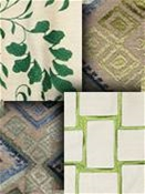 Green Embroidered Fabrics