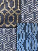 Navy Blue Trellis Fabric