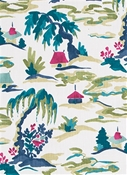 Baltic Pagoda Everglade Chinoiserie Fabric