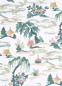 Baltic Pagoda Prarie Chinoiserie Fabric