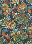 Magritte 593 Indigo Floral Fabric