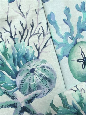 Sealife Watercolor Blue Fabric By Color