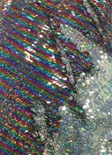 Holographic Rainbow / Holo Silver Sequin Fabric Z0442