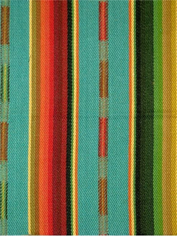 Sundance Stripe Turquoise Multi Teal Fabric