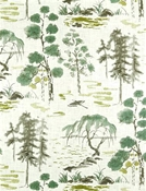 West Lake Celadon Chinoiserie Fabric