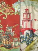 Red Toile & Chinoiserie Fabric