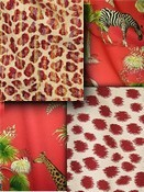 Crimson Animal Fabric