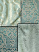 Spa Blue Damask Fabrics