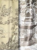 Taupe Toile & Chinoiserie Fabric