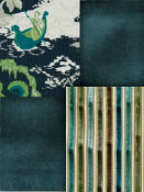 Teal, peacock & jade home decor fabric