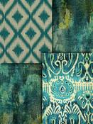 Teal Ikat Fabric