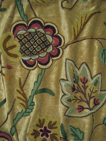 Vine of Life Loden Crewel Fabric
