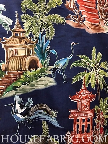 Emperor Navy Chinoiserie Fabric