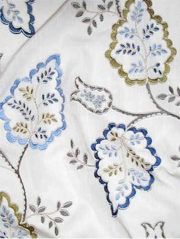 Linen Embroidered Lily Blue