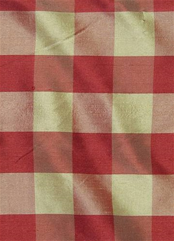 Silk Gingham Check Red - Tan