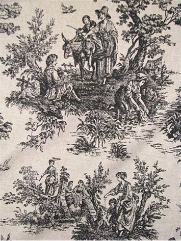Colonial Black/Linen Toile Fabric
